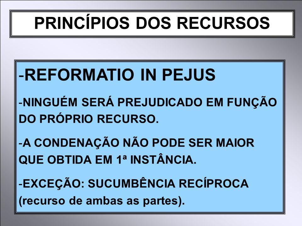 PRINCÍPIOS DOS RECURSOS -REFORMATIO IN PEJUS -NINGUÉM SERÁ PREJUDICADO EM FUNÇÃO DO PRÓPRIO RECURSO.