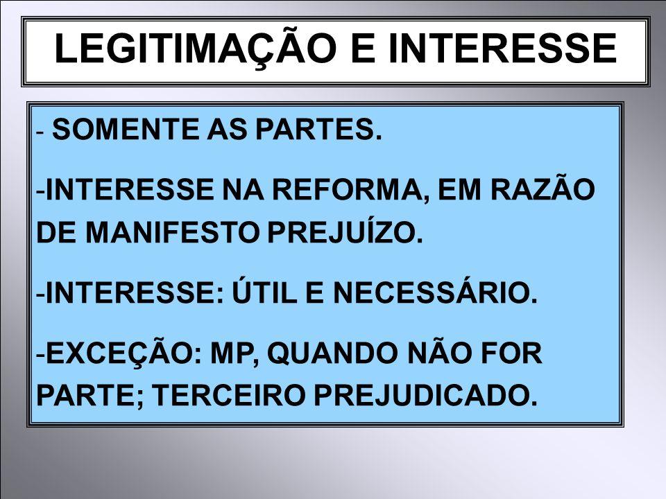 LEGITIMAÇÃO E INTERESSE - SOMENTE AS PARTES.-INTERESSE NA REFORMA, EM RAZÃO DE MANIFESTO PREJUÍZO.