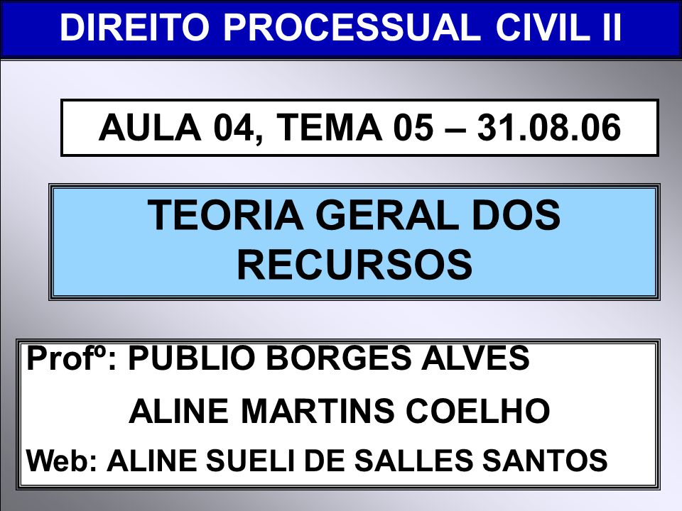 DIREITO PROCESSUAL CIVIL I Profº: PUBLIO BORGES ALVES ALINE MARTINS COELHO Web: ALINE SUELI DE SALLES SANTOS TEORIA GERAL DOS RECURSOS AULA 04, TEMA 05 – 31.08.06 DIREITO PROCESSUAL CIVIL II