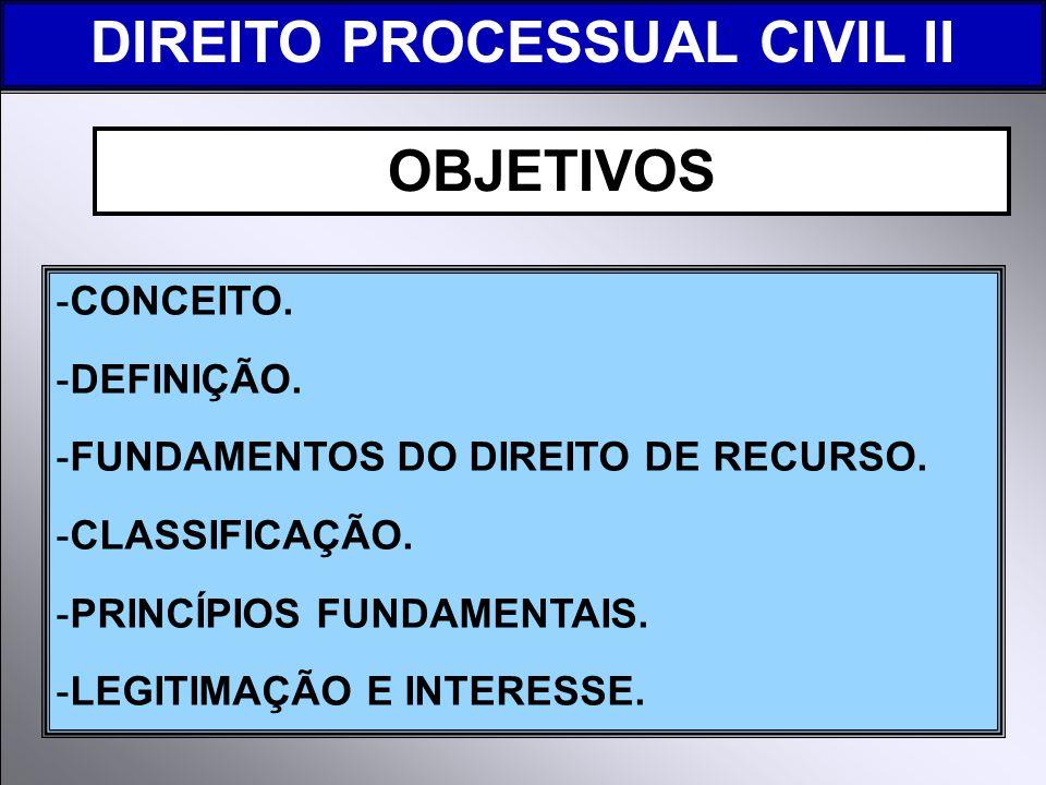 -CONCEITO.-DEFINIÇÃO. -FUNDAMENTOS DO DIREITO DE RECURSO.