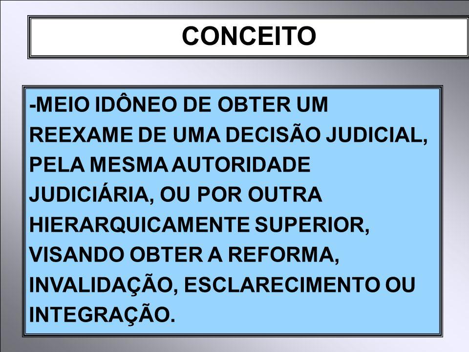 CONCEITO -MEIO IDÔNEO DE OBTER UM REEXAME DE UMA DECISÃO JUDICIAL, PELA MESMA AUTORIDADE JUDICIÁRIA, OU POR OUTRA HIERARQUICAMENTE SUPERIOR, VISANDO OBTER A REFORMA, INVALIDAÇÃO, ESCLARECIMENTO OU INTEGRAÇÃO.