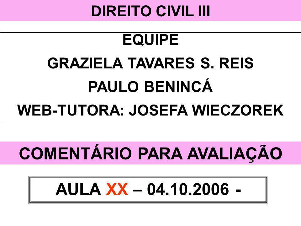 DIREITO CIVIL III EQUIPE GRAZIELA TAVARES S. REIS PAULO BENINCÁ WEB-TUTORA: JOSEFA WIECZOREK COMENTÁRIO PARA AVALIAÇÃO AULA XX – 04.10.2006 -