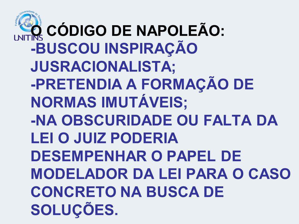 O CÓDIGO DE NAPOLEÃO: -BUSCOU INSPIRAÇÃO JUSRACIONALISTA; -PRETENDIA A FORMAÇÃO DE NORMAS IMUTÁVEIS; -NA OBSCURIDADE OU FALTA DA LEI O JUIZ PODERIA DESEMPENHAR O PAPEL DE MODELADOR DA LEI PARA O CASO CONCRETO NA BUSCA DE SOLUÇÕES.