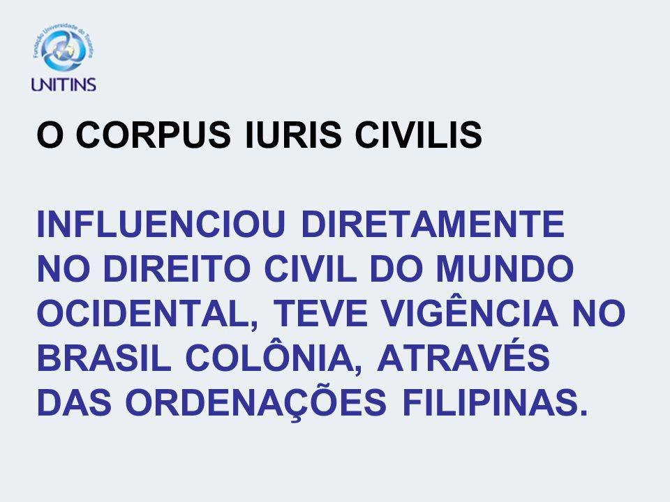 O CORPUS IURIS CIVILIS INFLUENCIOU DIRETAMENTE NO DIREITO CIVIL DO MUNDO OCIDENTAL, TEVE VIGÊNCIA NO BRASIL COLÔNIA, ATRAVÉS DAS ORDENAÇÕES FILIPINAS.