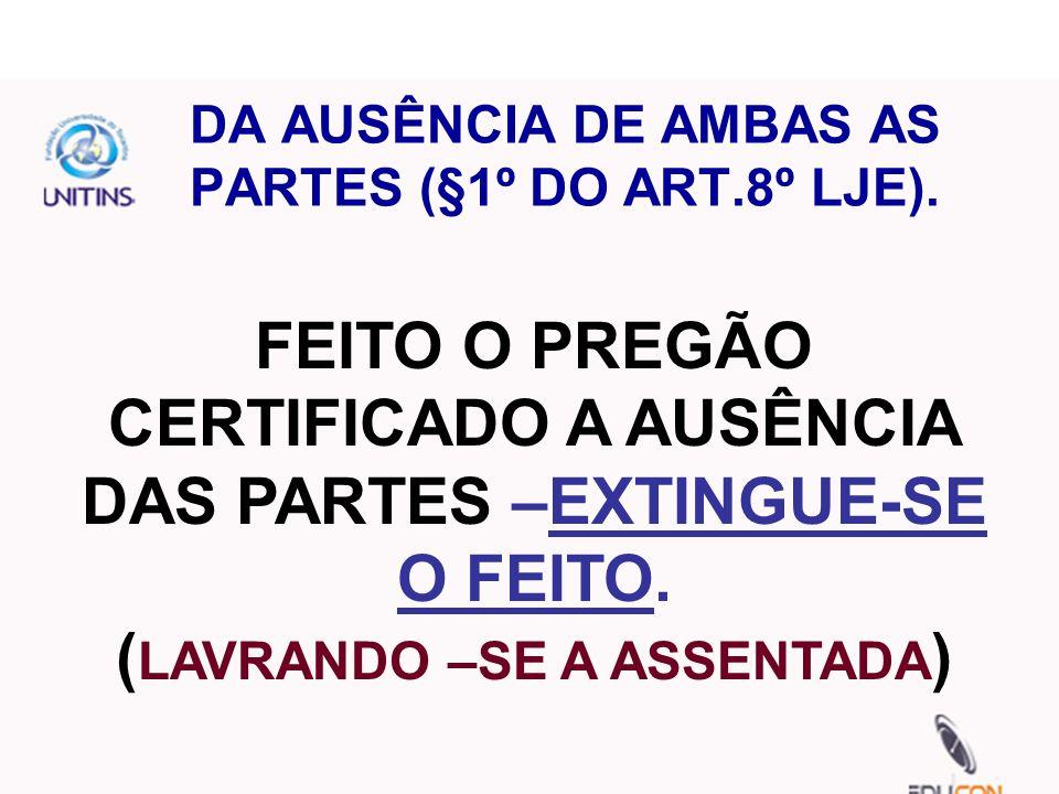 DA AUSÊNCIA DE AMBAS AS PARTES (§1º DO ART.8º LJE).