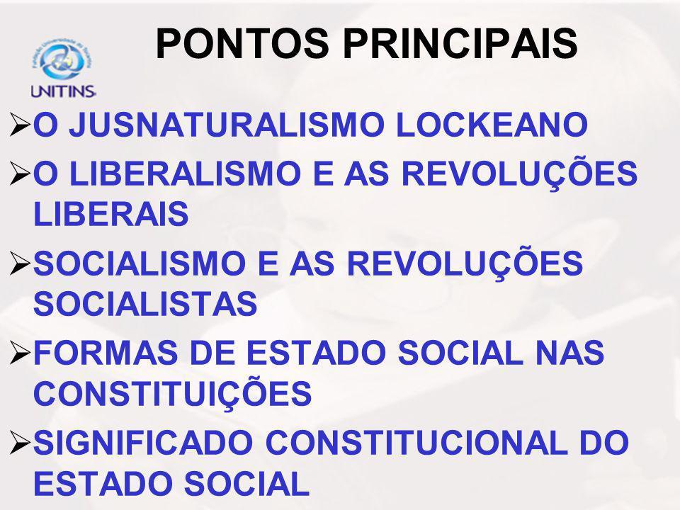 PONTOS PRINCIPAIS O JUSNATURALISMO LOCKEANO O LIBERALISMO E AS REVOLUÇÕES LIBERAIS SOCIALISMO E AS REVOLUÇÕES SOCIALISTAS FORMAS DE ESTADO SOCIAL NAS CONSTITUIÇÕES SIGNIFICADO CONSTITUCIONAL DO ESTADO SOCIAL