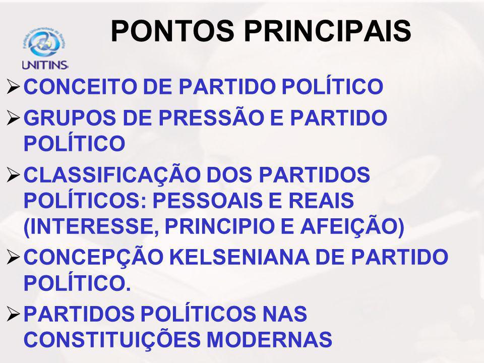PONTOS PRINCIPAIS CONCEITO DE PARTIDO POLÍTICO GRUPOS DE PRESSÃO E PARTIDO POLÍTICO CLASSIFICAÇÃO DOS PARTIDOS POLÍTICOS: PESSOAIS E REAIS (INTERESSE,