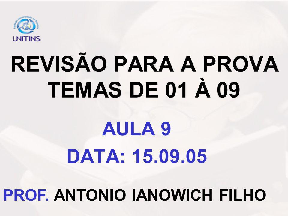 REVISÃO PARA A PROVA TEMAS DE 01 À 09 AULA 9 DATA: 15.09.05 PROF. ANTONIO IANOWICH FILHO