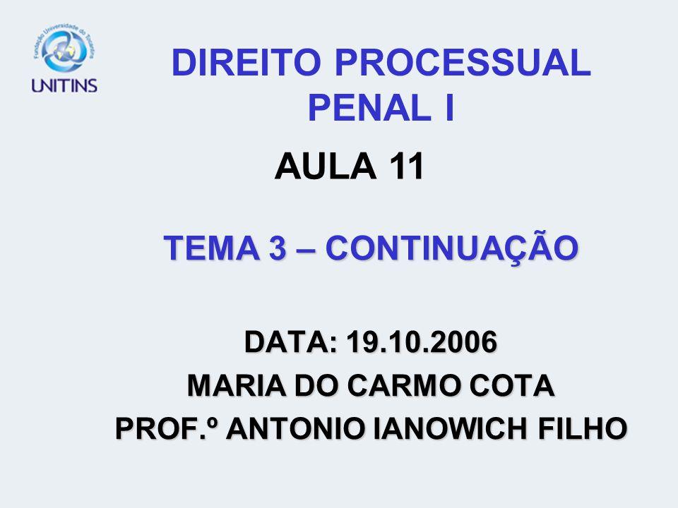 DIREITO PROCESSUAL PENAL I TEMA 3 – CONTINUAÇÃO DATA: 19.10.2006 MARIA DO CARMO COTA PROF.º ANTONIO IANOWICH FILHO AULA 11