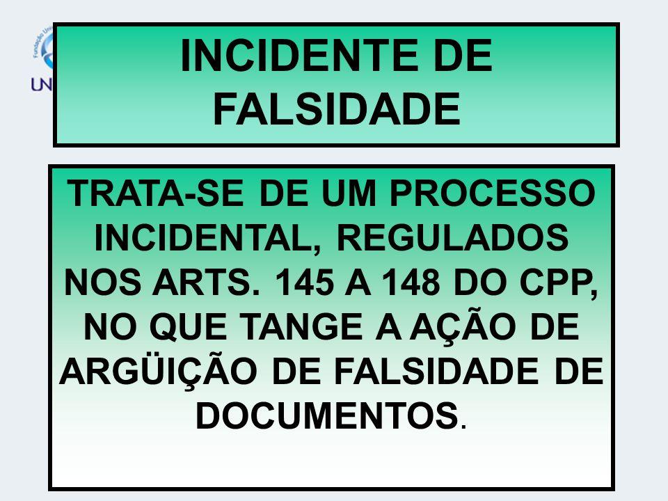 INCIDENTE DE FALSIDADE TRATA-SE DE UM PROCESSO INCIDENTAL, REGULADOS NOS ARTS. 145 A 148 DO CPP, NO QUE TANGE A AÇÃO DE ARGÜIÇÃO DE FALSIDADE DE DOCUM