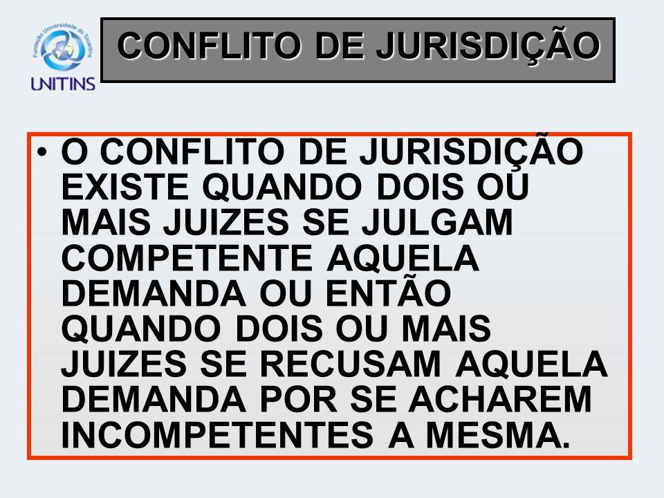 O CONFLITO DE JURISDIÇÃO EXISTE QUANDO DOIS OU MAIS JUIZES SE JULGAM COMPETENTE AQUELA DEMANDA OU ENTÃO QUANDO DOIS OU MAIS JUIZES SE RECUSAM AQUELA D