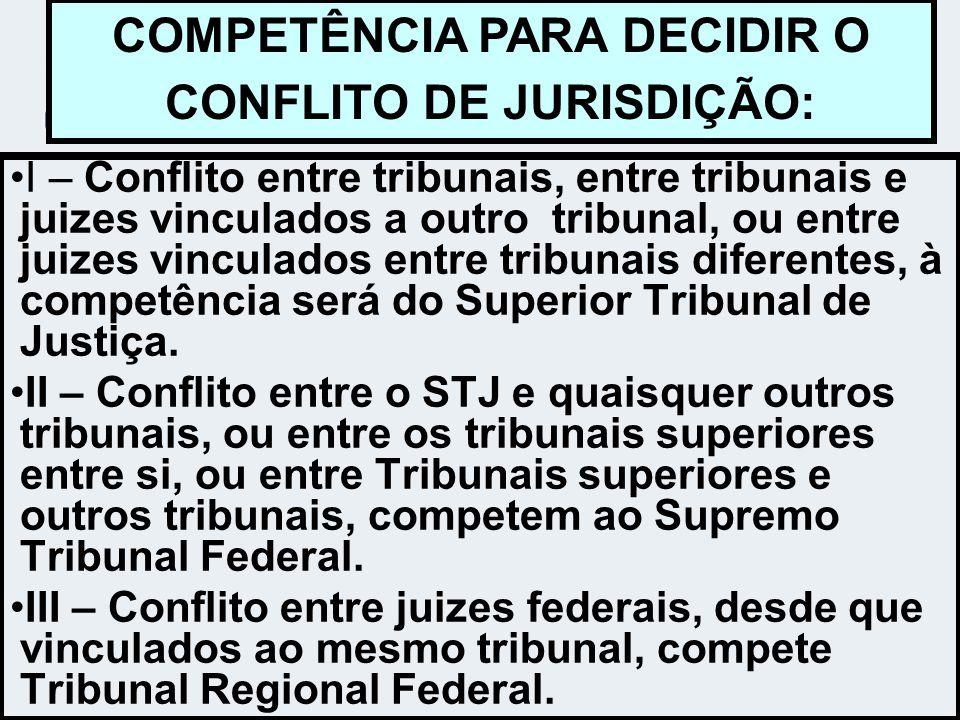 I – Conflito entre tribunais, entre tribunais e juizes vinculados a outro tribunal, ou entre juizes vinculados entre tribunais diferentes, à competênc