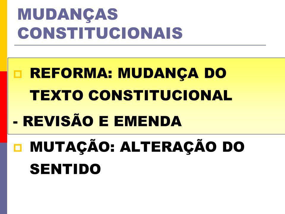 MUDANÇAS CONSTITUCIONAIS REFORMA: MUDANÇA DO TEXTO CONSTITUCIONAL - REVISÃO E EMENDA MUTAÇÃO: ALTERAÇÃO DO SENTIDO