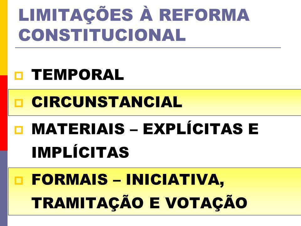 LIMITAÇÕES À REFORMA CONSTITUCIONAL TEMPORAL CIRCUNSTANCIAL MATERIAIS – EXPLÍCITAS E IMPLÍCITAS FORMAIS – INICIATIVA, TRAMITAÇÃO E VOTAÇÃO