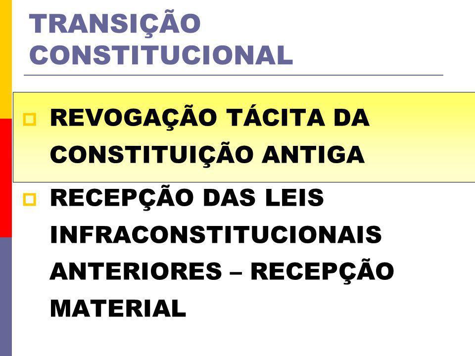 TRANSIÇÃO CONSTITUCIONAL REVOGAÇÃO TÁCITA DA CONSTITUIÇÃO ANTIGA RECEPÇÃO DAS LEIS INFRACONSTITUCIONAIS ANTERIORES – RECEPÇÃO MATERIAL