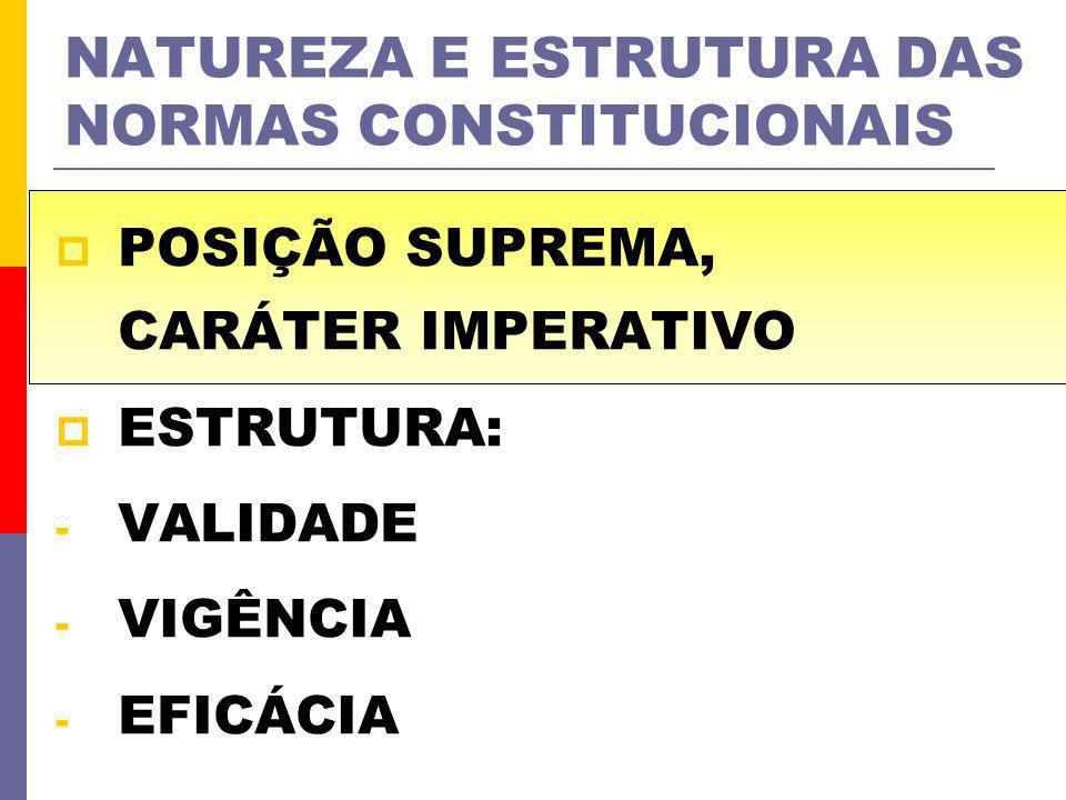 NATUREZA E ESTRUTURA DAS NORMAS CONSTITUCIONAIS POSIÇÃO SUPREMA, CARÁTER IMPERATIVO ESTRUTURA: - VALIDADE - VIGÊNCIA - EFICÁCIA