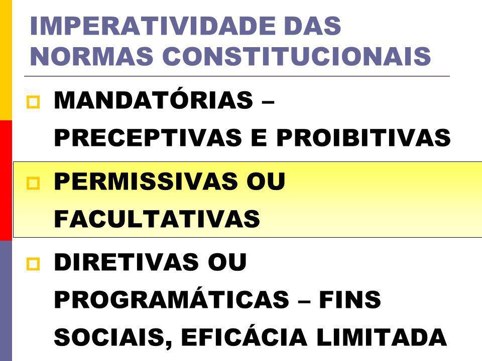 IMPERATIVIDADE DAS NORMAS CONSTITUCIONAIS MANDATÓRIAS – PRECEPTIVAS E PROIBITIVAS PERMISSIVAS OU FACULTATIVAS DIRETIVAS OU PROGRAMÁTICAS – FINS SOCIAI