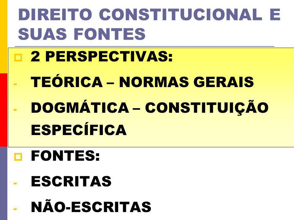 DIREITO CONSTITUCIONAL E SUAS FONTES 2 PERSPECTIVAS: - TEÓRICA – NORMAS GERAIS - DOGMÁTICA – CONSTITUIÇÃO ESPECÍFICA FONTES: - ESCRITAS - NÃO-ESCRITAS