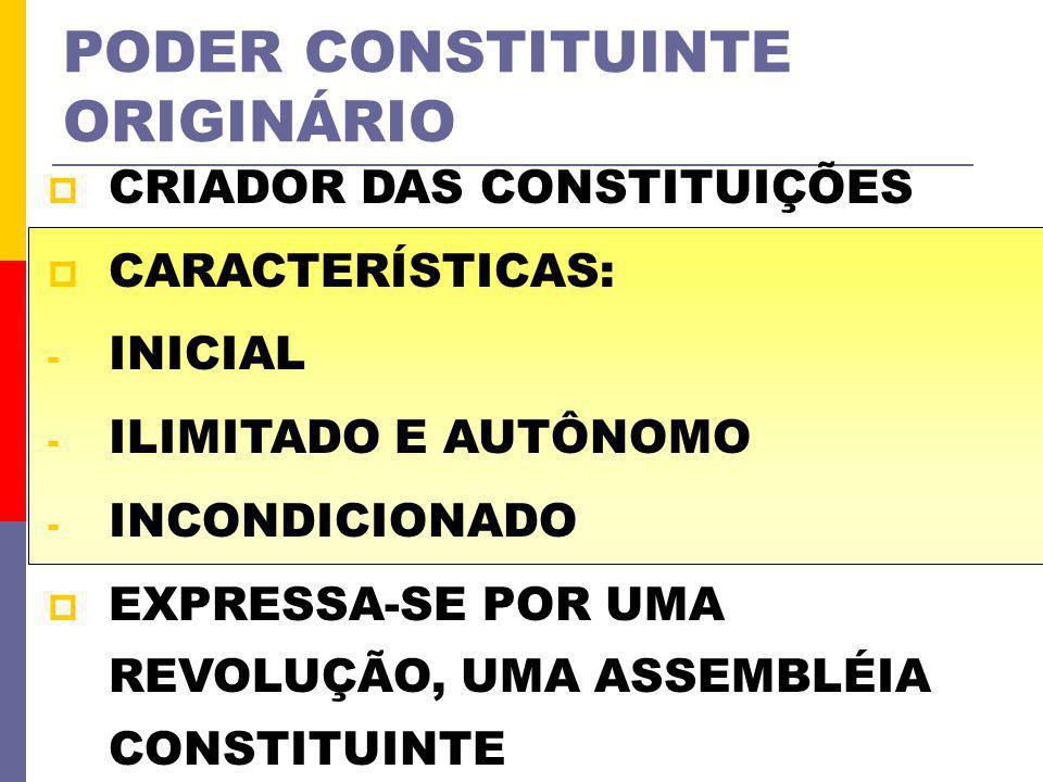 PODER CONSTITUINTE ORIGINÁRIO CRIADOR DAS CONSTITUIÇÕES CARACTERÍSTICAS: - INICIAL - ILIMITADO E AUTÔNOMO - INCONDICIONADO EXPRESSA-SE POR UMA REVOLUÇ