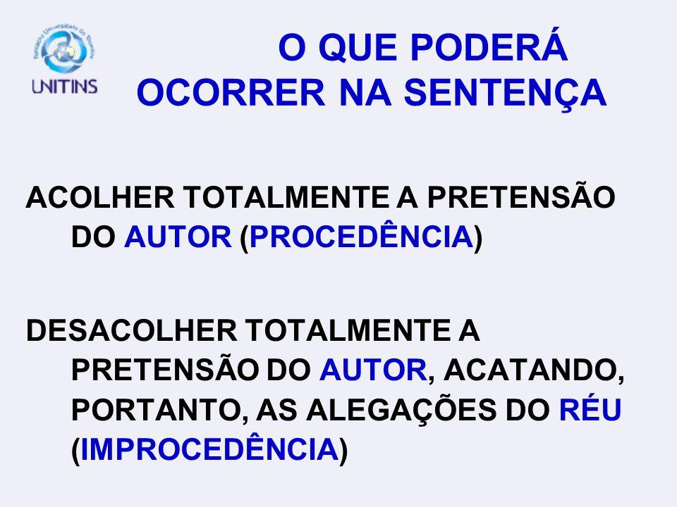 O QUE PODERÁ OCORRER NA SENTENÇA ACOLHER TOTALMENTE A PRETENSÃO DO AUTOR (PROCEDÊNCIA) DESACOLHER TOTALMENTE A PRETENSÃO DO AUTOR, ACATANDO, PORTANTO, AS ALEGAÇÕES DO RÉU (IMPROCEDÊNCIA)
