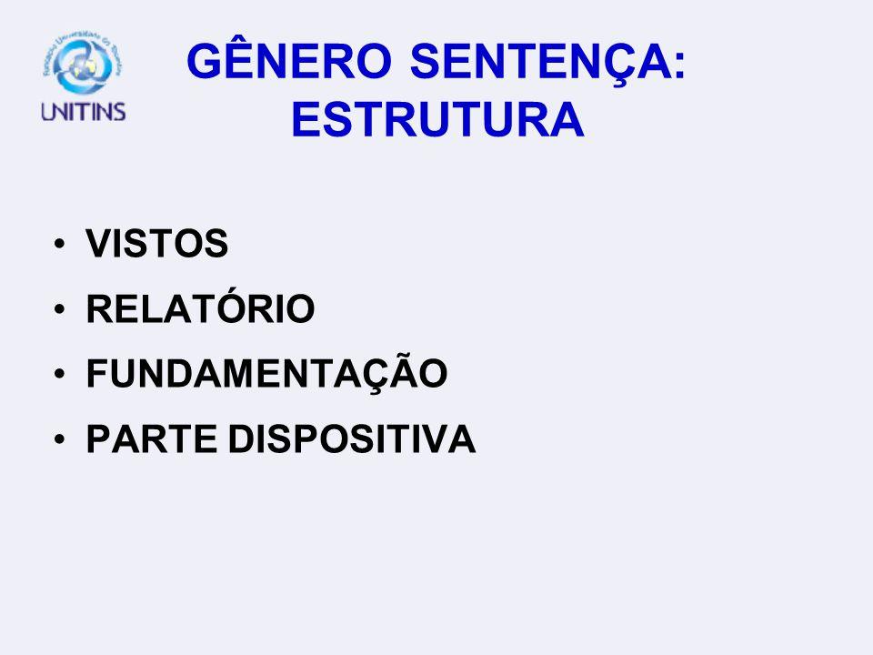 GÊNERO SENTENÇA: ESTRUTURA VISTOS RELATÓRIO FUNDAMENTAÇÃO PARTE DISPOSITIVA