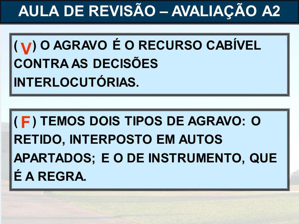 ( ) O AGRAVO É O RECURSO CABÍVEL CONTRA AS DECISÕES INTERLOCUTÓRIAS.