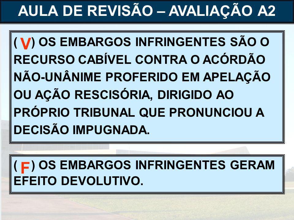 ( ) OS EMBARGOS INFRINGENTES SÃO O RECURSO CABÍVEL CONTRA O ACÓRDÃO NÃO-UNÂNIME PROFERIDO EM APELAÇÃO OU AÇÃO RESCISÓRIA, DIRIGIDO AO PRÓPRIO TRIBUNAL QUE PRONUNCIOU A DECISÃO IMPUGNADA.