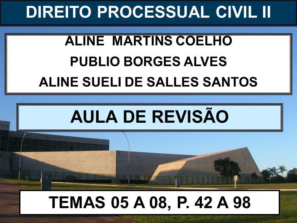 DIREITO PROCESSUAL CIVIL I ALINE MARTINS COELHO PUBLIO BORGES ALVES ALINE SUELI DE SALLES SANTOS AULA DE REVISÃO TEMAS 05 A 08, P.