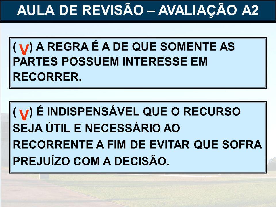 ( ) SÃO PRESSUPOSTOS OBJETIVOS DO RECURSO A RECORRIBILIDADE DA DECISÃO E A TEMPESTIVIDADE DO RECURSO, SOMENTE.