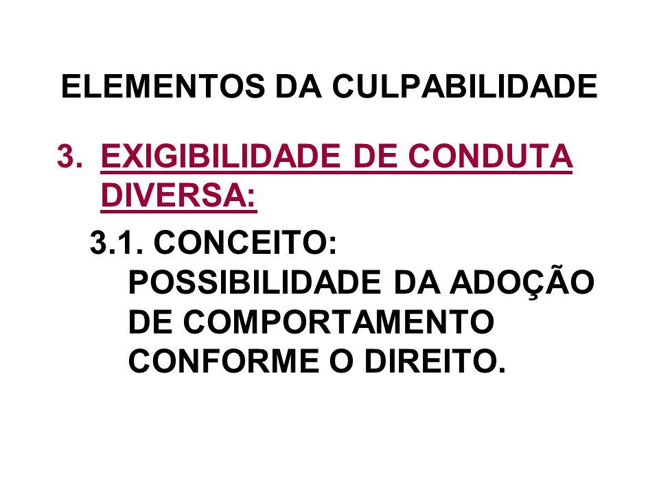 ELEMENTOS DA CULPABILIDADE 3.EXIGIBILIDADE DE CONDUTA DIVERSA: 3.1. CONCEITO: POSSIBILIDADE DA ADOÇÃO DE COMPORTAMENTO CONFORME O DIREITO.
