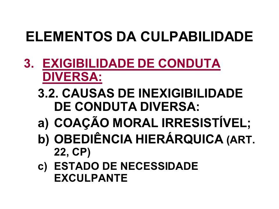 ELEMENTOS DA CULPABILIDADE 3.EXIGIBILIDADE DE CONDUTA DIVERSA: 3.2. CAUSAS DE INEXIGIBILIDADE DE CONDUTA DIVERSA: a)COAÇÃO MORAL IRRESISTÍVEL; b)OBEDI