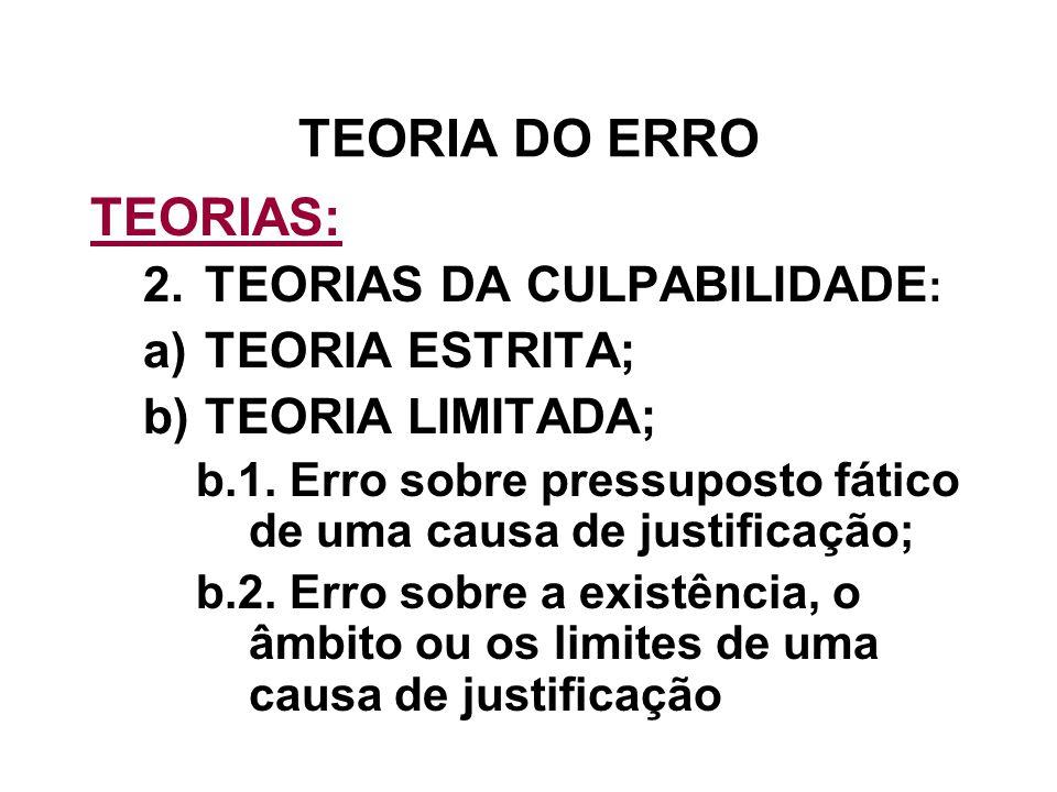 TEORIA DO ERRO TEORIAS: 2.TEORIAS DA CULPABILIDADE : a)TEORIA ESTRITA; b)TEORIA LIMITADA; b.1. Erro sobre pressuposto fático de uma causa de justifica