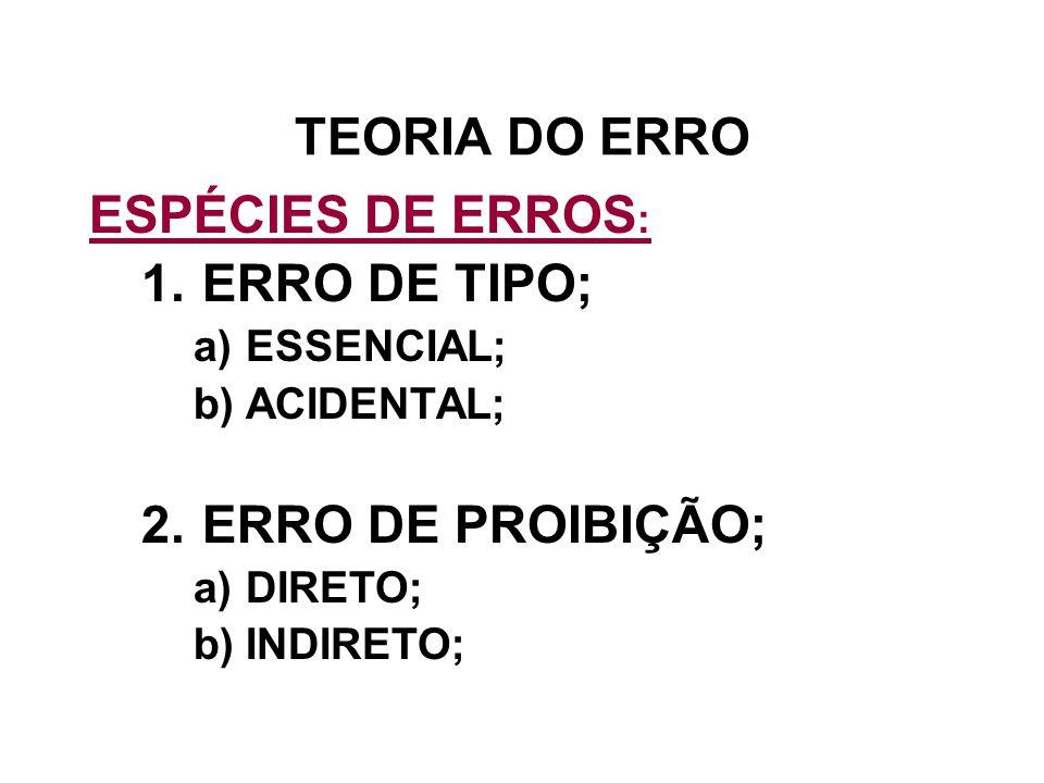 TEORIA DO ERRO ESPÉCIES DE ERROS : 1.ERRO DE TIPO; a)ESSENCIAL; b)ACIDENTAL; 2.ERRO DE PROIBIÇÃO; a)DIRETO; b)INDIRETO;
