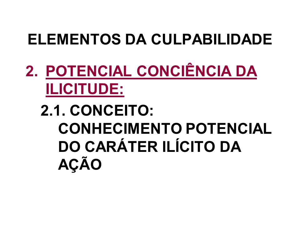 ELEMENTOS DA CULPABILIDADE 2.POTENCIAL CONCIÊNCIA DA ILICITUDE: 2.1. CONCEITO: CONHECIMENTO POTENCIAL DO CARÁTER ILÍCITO DA AÇÃO