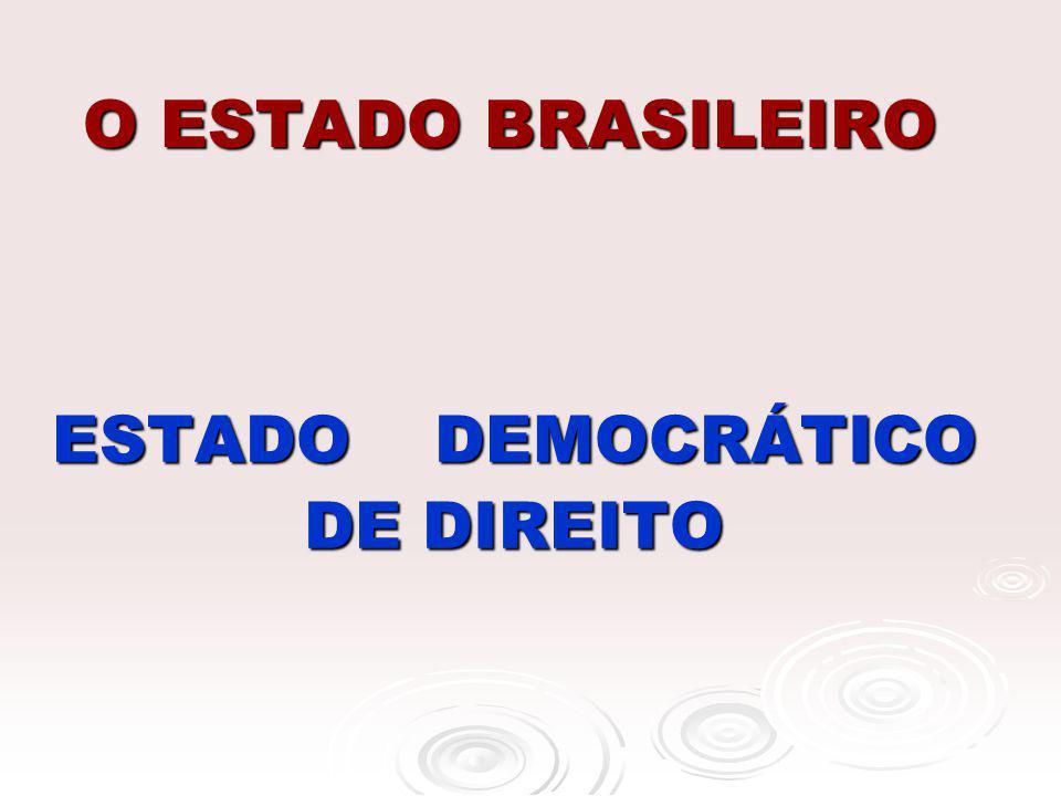 O ESTADO BRASILEIRO ESTADO DEMOCRÁTICO DE DIREITO ESTADO DEMOCRÁTICO DE DIREITO