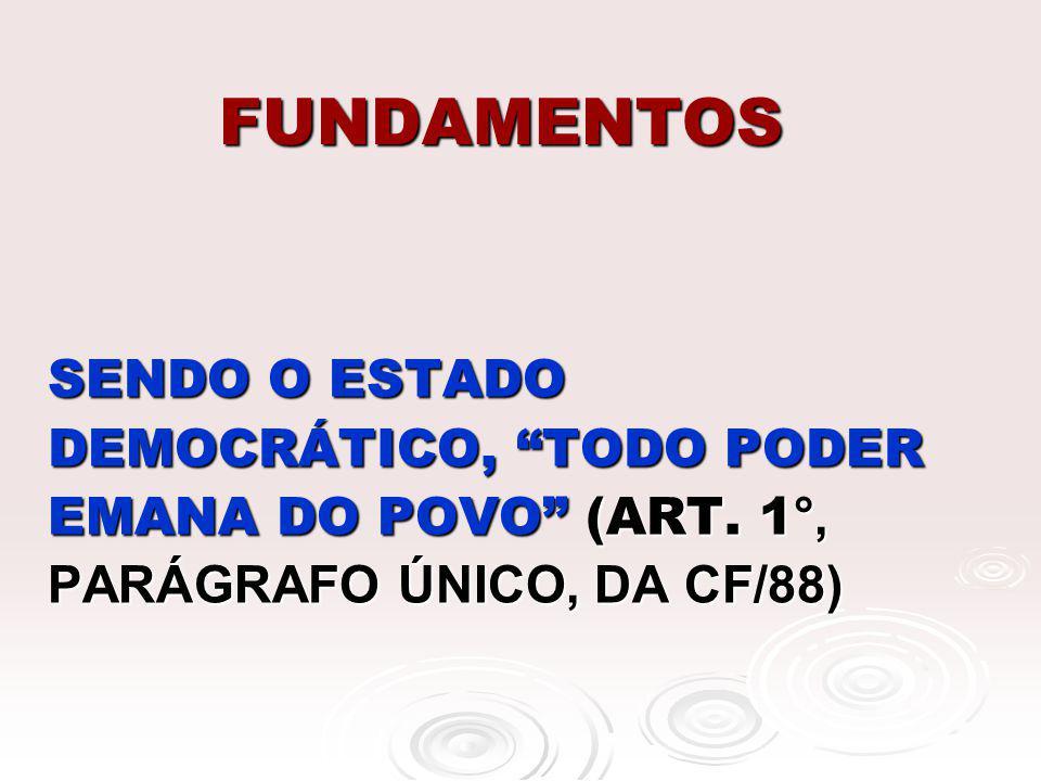 FUNDAMENTOS SENDO O ESTADO DEMOCRÁTICO, TODO PODER EMANA DO POVO (ART. 1 °, PARÁGRAFO ÚNICO, DA CF/88)