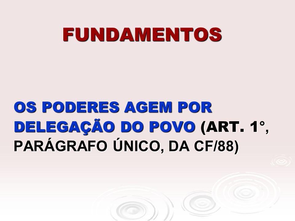 FUNDAMENTOS OS PODERES AGEM POR DELEGAÇÃO DO POVO (ART. 1 °, PARÁGRAFO ÚNICO, DA CF/88)