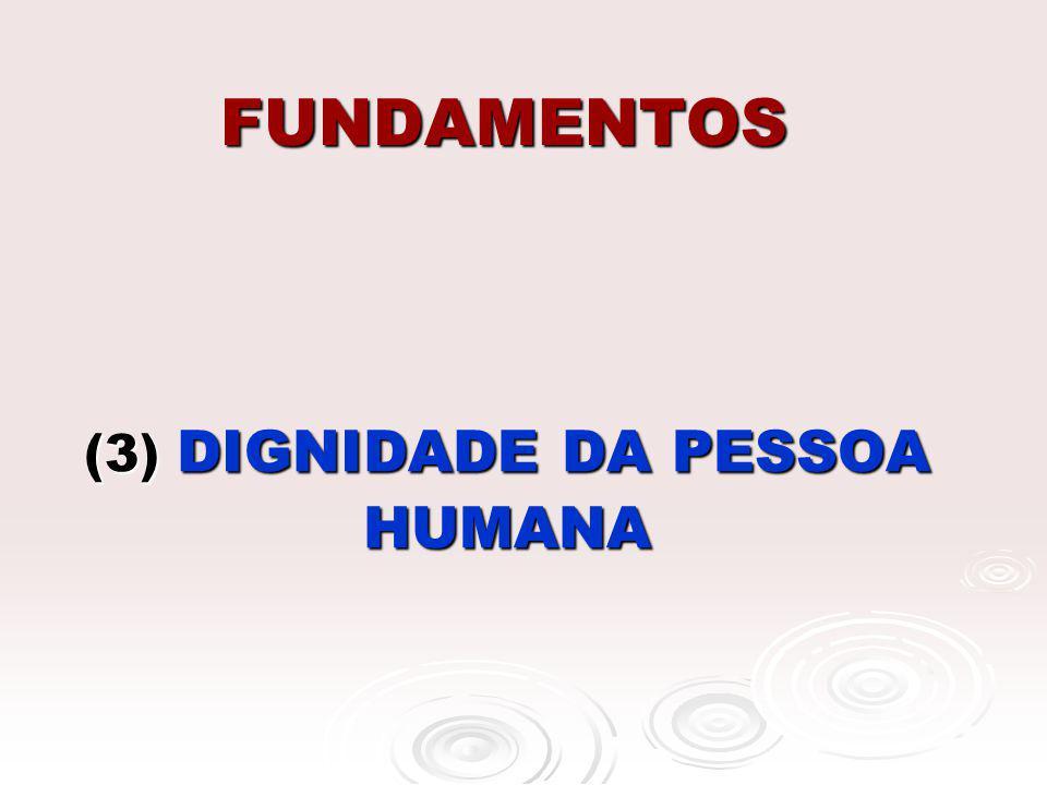 FUNDAMENTOS (3) DIGNIDADE DA PESSOA HUMANA
