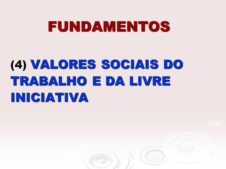 FUNDAMENTOS (4) VALORES SOCIAIS DO TRABALHO E DA LIVRE INICIATIVA (4) VALORES SOCIAIS DO TRABALHO E DA LIVRE INICIATIVA