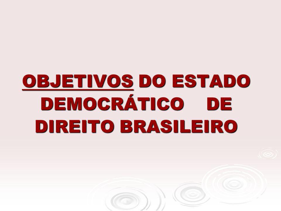 OBJETIVOS DO ESTADO DEMOCRÁTICO DE DIREITO BRASILEIRO OBJETIVOS DO ESTADO DEMOCRÁTICO DE DIREITO BRASILEIRO
