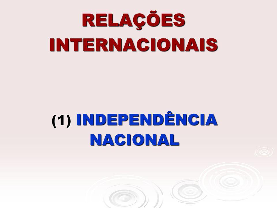 RELAÇÕES INTERNACIONAIS (1) INDEPENDÊNCIA NACIONAL