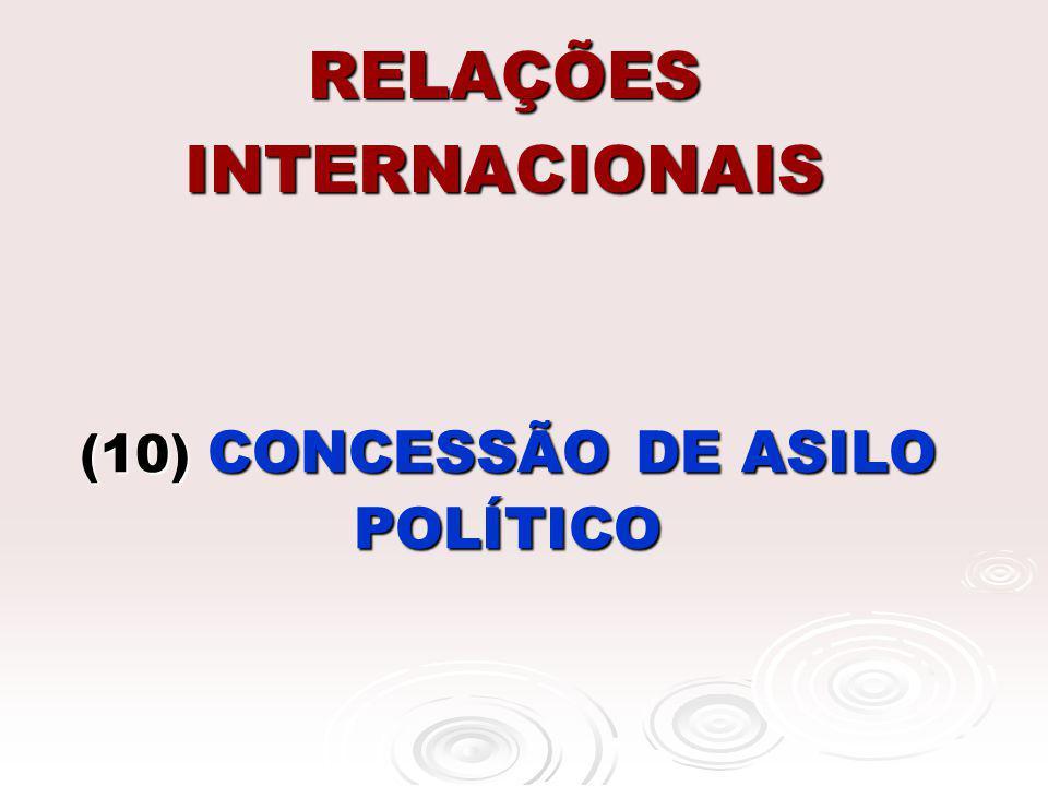 RELAÇÕES INTERNACIONAIS (10) CONCESSÃO DE ASILO POLÍTICO