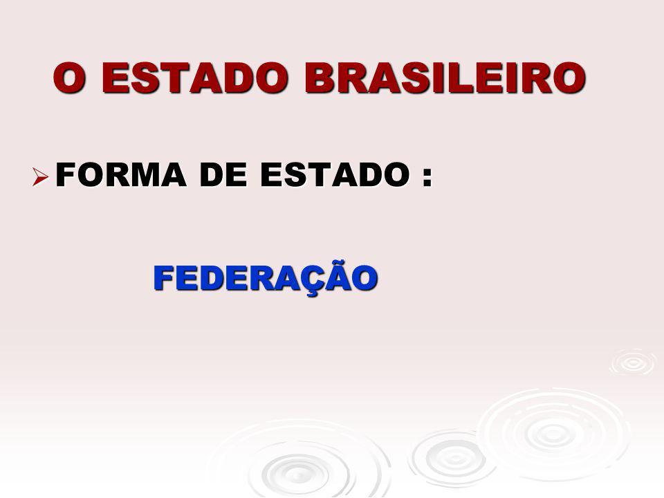 O ESTADO BRASILEIRO FORMA DE ESTADO : FORMA DE ESTADO : FEDERAÇÃO FEDERAÇÃO
