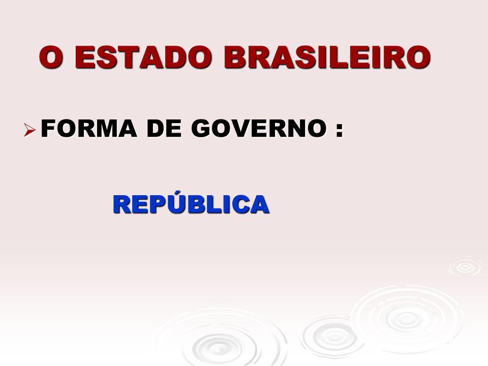 O ESTADO BRASILEIRO FORMA DE GOVERNO : FORMA DE GOVERNO : REPÚBLICA REPÚBLICA