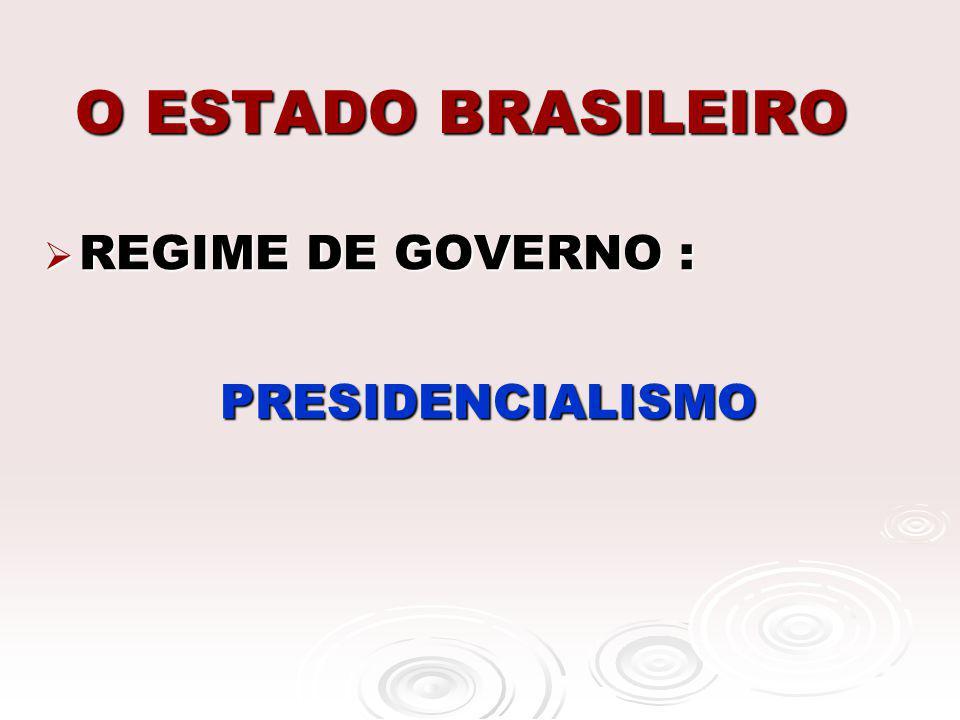 O ESTADO BRASILEIRO REGIME DE GOVERNO : REGIME DE GOVERNO : PRESIDENCIALISMO PRESIDENCIALISMO