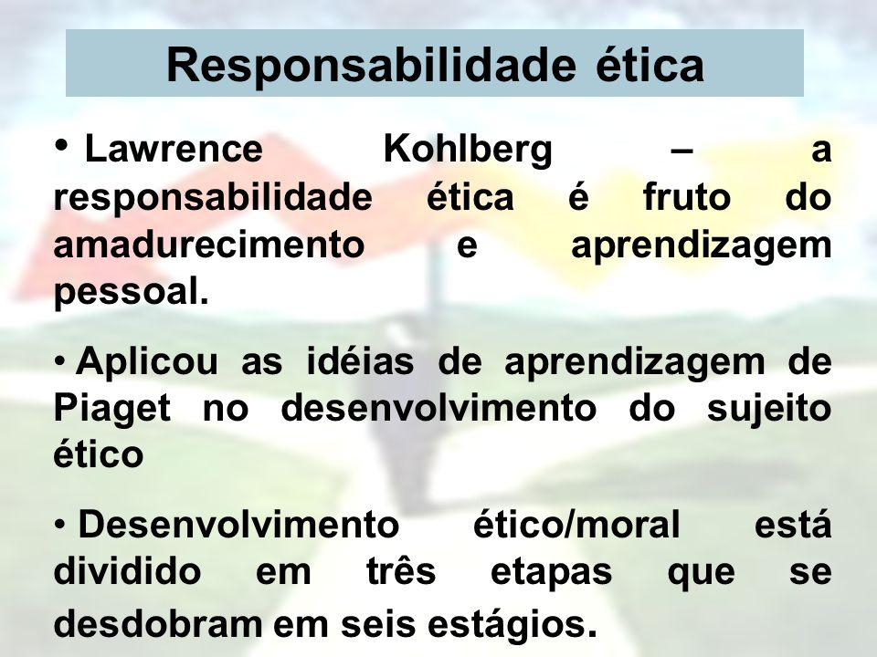 Responsabilidade ética Lawrence Kohlberg – a responsabilidade ética é fruto do amadurecimento e aprendizagem pessoal. Aplicou as idéias de aprendizage