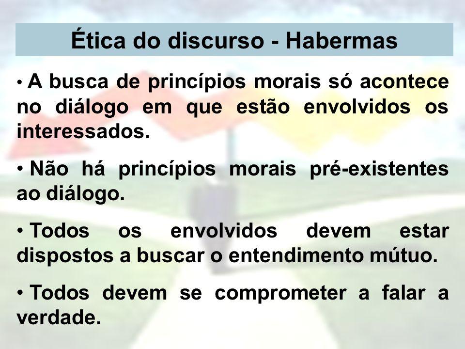 Ética do discurso - Habermas A busca de princípios morais só acontece no diálogo em que estão envolvidos os interessados. Não há princípios morais pré