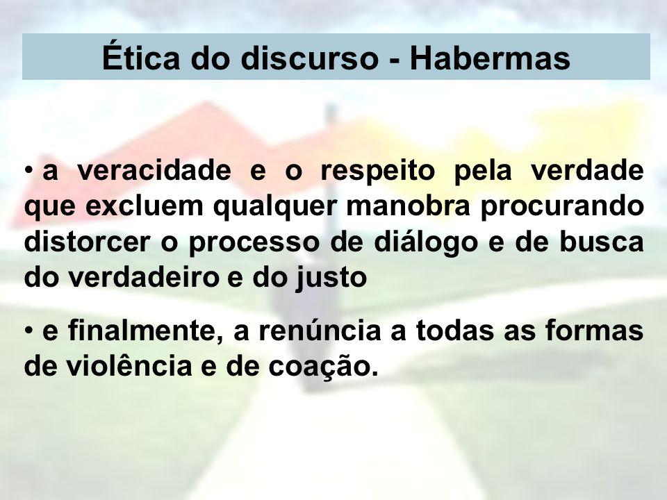 Ética do discurso - Habermas a veracidade e o respeito pela verdade que excluem qualquer manobra procurando distorcer o processo de diálogo e de busca