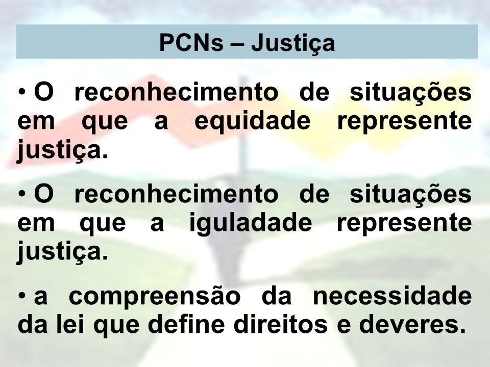 PCNs – Justiça O reconhecimento de situações em que a equidade represente justiça. O reconhecimento de situações em que a iguladade represente justiça