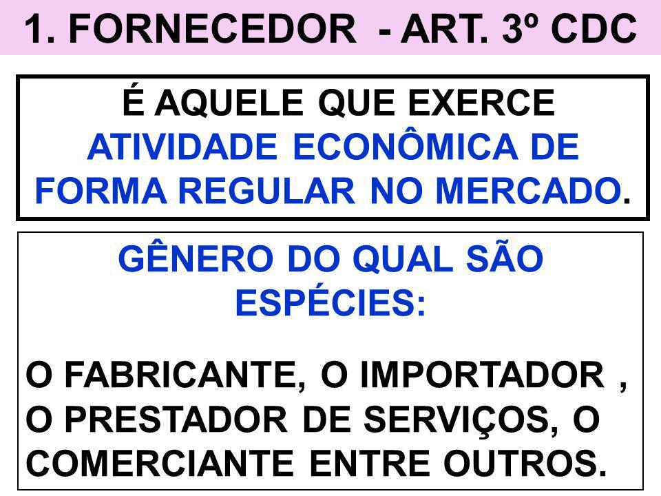 1. FORNECEDOR - ART. 3º CDC É AQUELE QUE EXERCE ATIVIDADE ECONÔMICA DE FORMA REGULAR NO MERCADO. GÊNERO DO QUAL SÃO ESPÉCIES: O FABRICANTE, O IMPORTAD